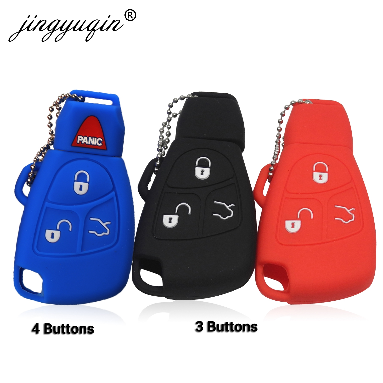 Jingyuqin Silicone Cover For Mercedes Benz B C E ML S CLK CL 3/4 Buttons Rubber Skin Remote Key Fob Case