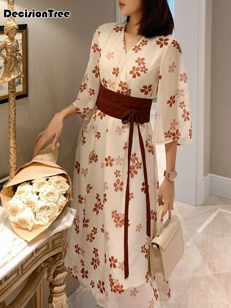 2020 Women Flower Print Kimono Japanese Mujer Yukata Japan Kimono Dress Japanese Clothes Sasuke V Neck Long Robe Oriental Dress