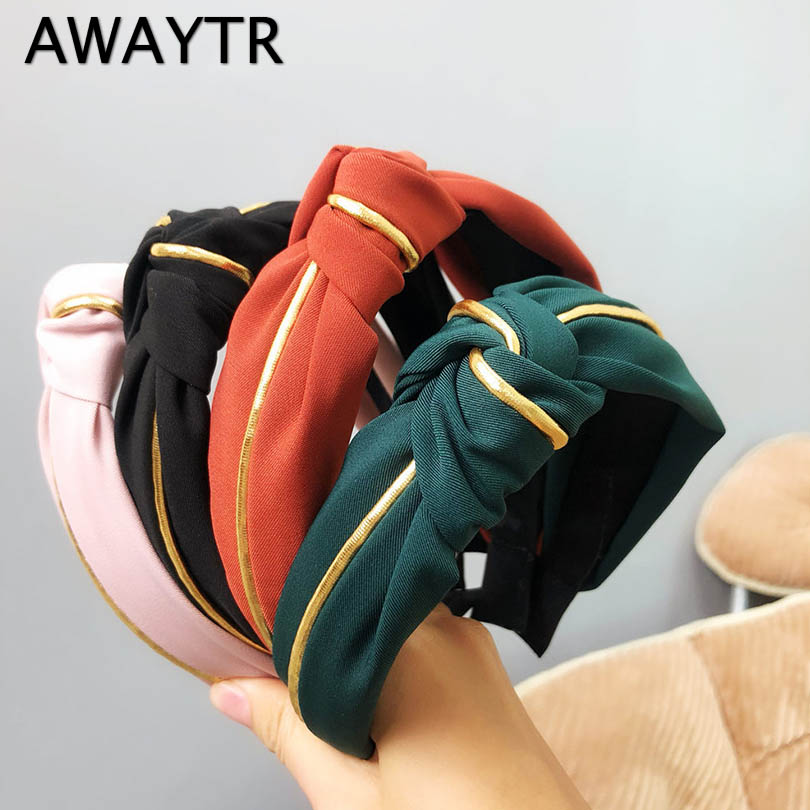AWAYTR New Women Elegant Gold Line Knotting Cotton Hairband Sweet Headband Hair Ornament Head Band Lady Fashion Hair Accessories