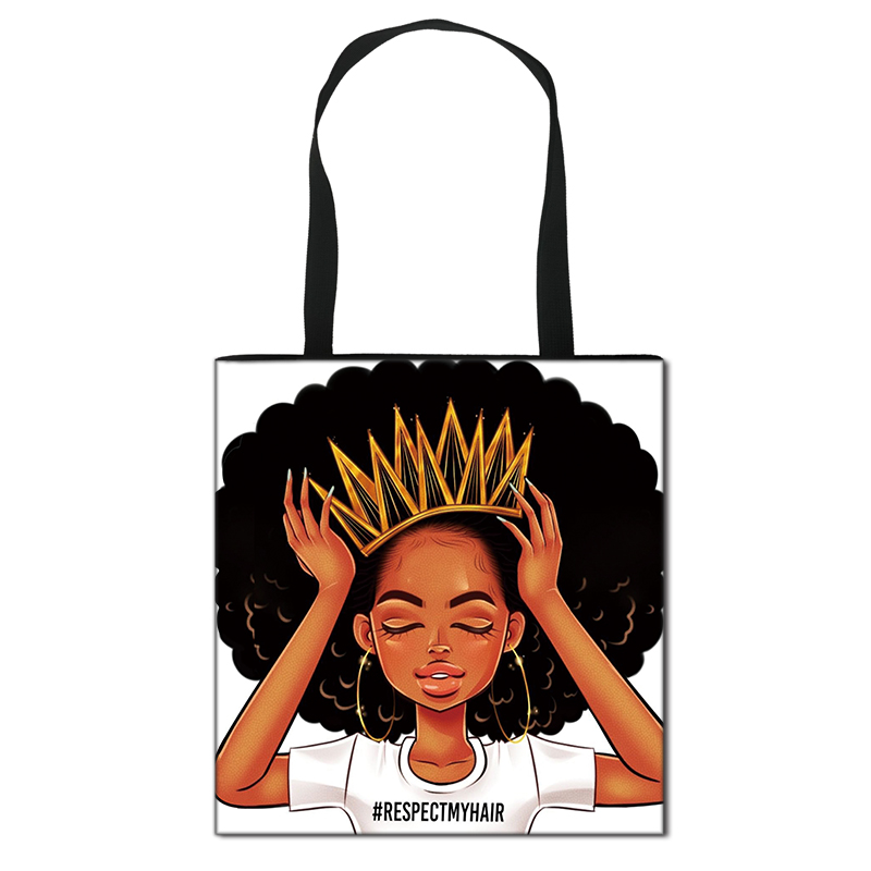 Afro Girl Print Totes Africa Women Fashion Handbag Ladies Shopping Bag Teenager Girl Shoulder Bag For Travelling