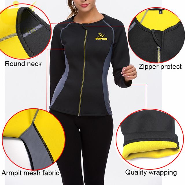 Women Hot Weight Loss Shirt Neoprene Body Shaper Long Workout Jacket Fat Burner Top