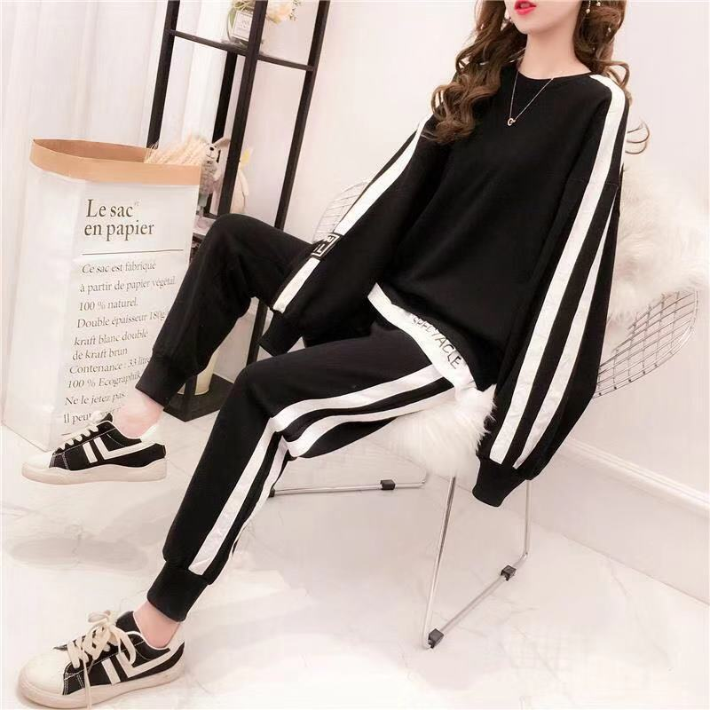 Women's Fashion Casual Wild Sports Suit Girl's Spring Autumn Loose Long Sleeve O-Neck Sweater Cotton Two Piece Suit