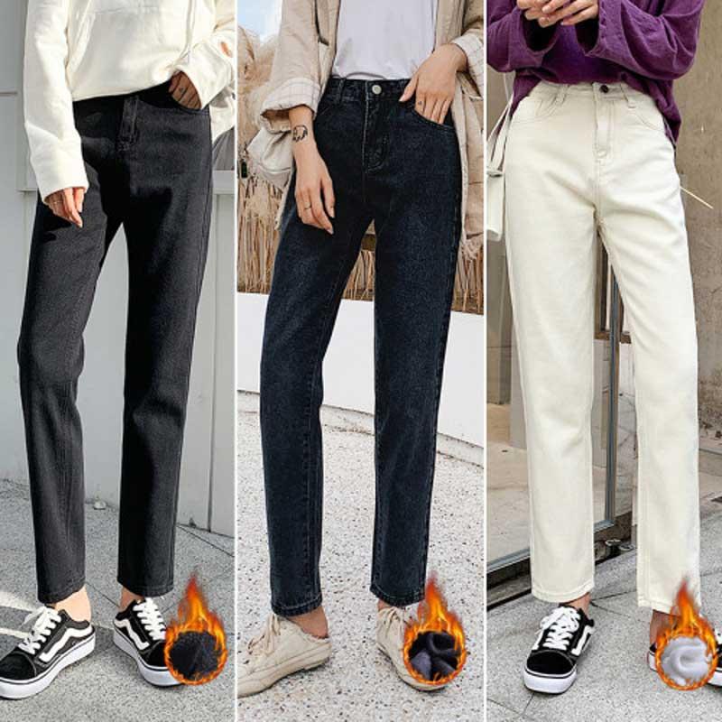 Plus Velvet Straight Jeans Female Korean Winter New Loose High Waist Student Lame Pants Solid Color Large Size Women's Jeans