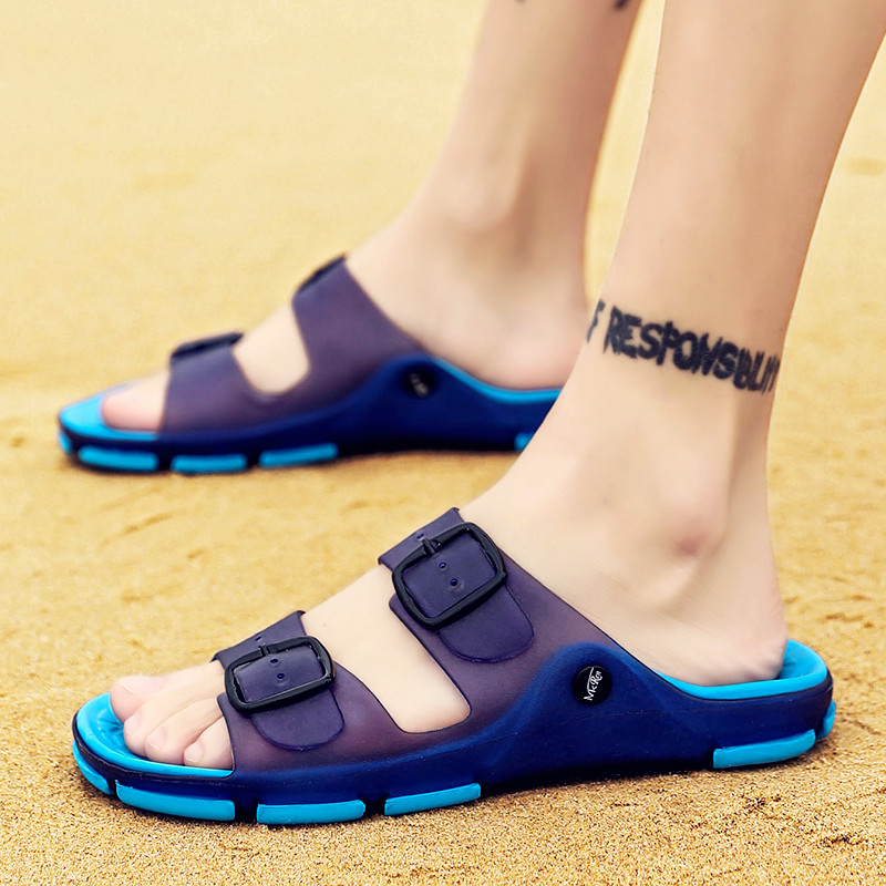 Men's Summer Slides Slippers Men Jelly Shoes Breathable Flat Slippers Water Beach Sandals Lightweight Unisex Beach Sandals 4