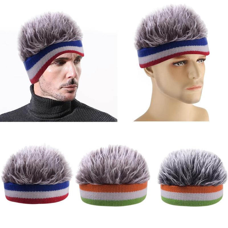 Men Wig Hats Landlord Hat Autumn And Winter Beanie Hats Retro Street Fake Hair Cap Skullies Beanies