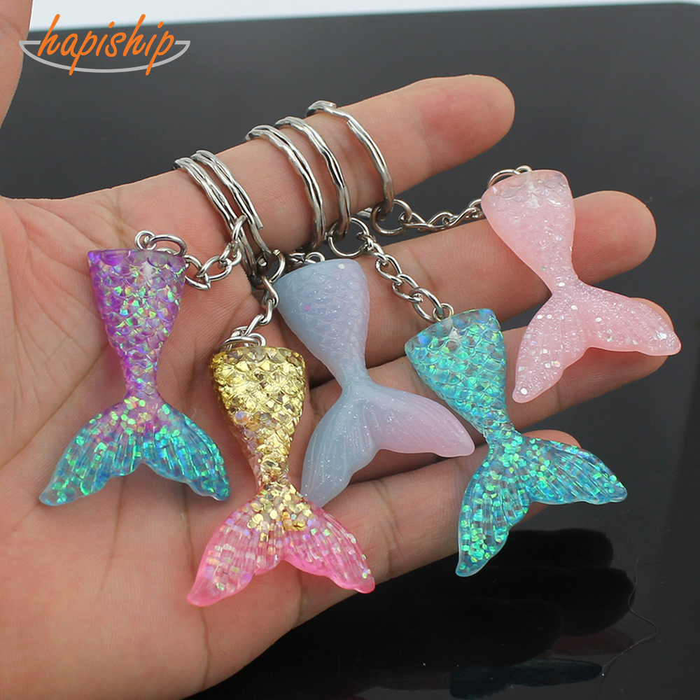 Hapiship 2019 New Women/Men's Fashion Handmade Resin Mermaid Tail Key Chains Key Rings Alloy Charms Gifts YSCN39 Wholesale