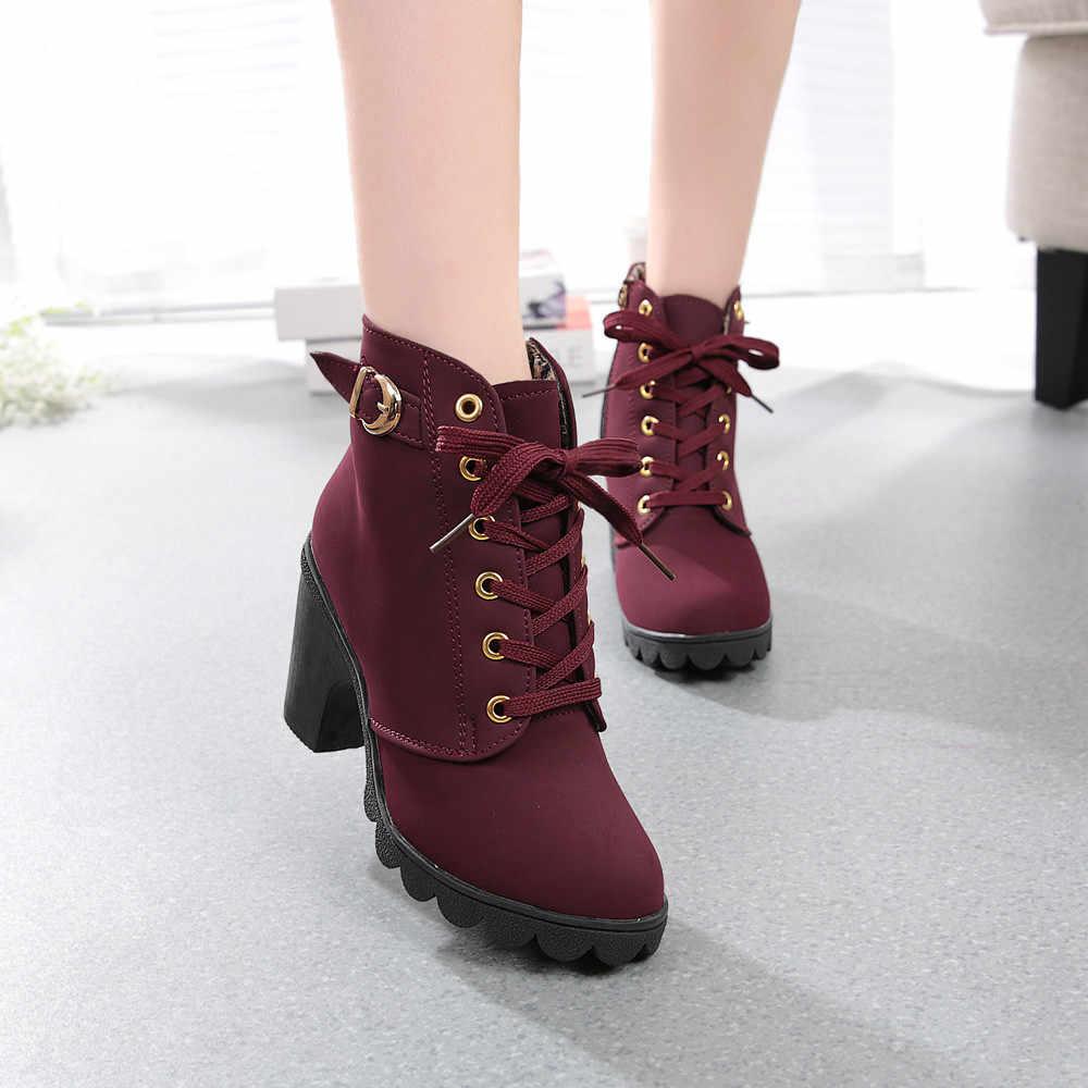 2019 חדש סתיו חורף נשים מגפיים באיכות גבוהה מוצק שרוכים אירופאי גבירותיי נעלי PU אופנה גבוהה עקבים מגפיים 35-43