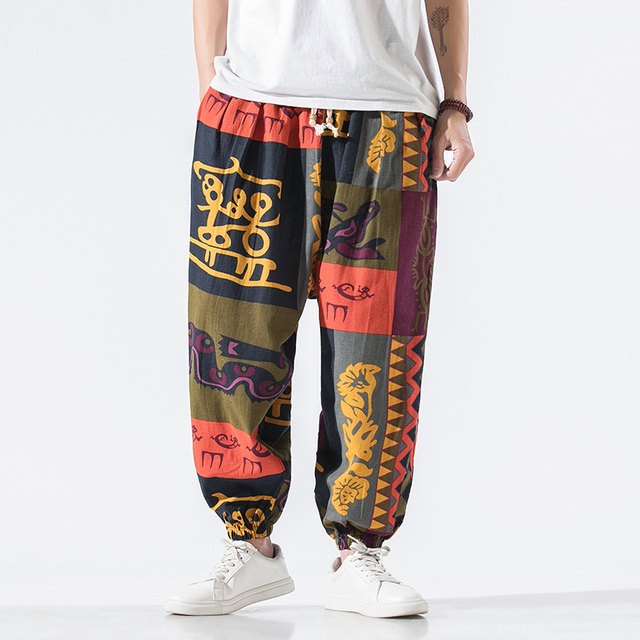 Calças masculinas harem calças joggers estampado com cordão solto-virilha calças masculinas 2020 solto coreano streetwear algodão casual calças masculinas 2
