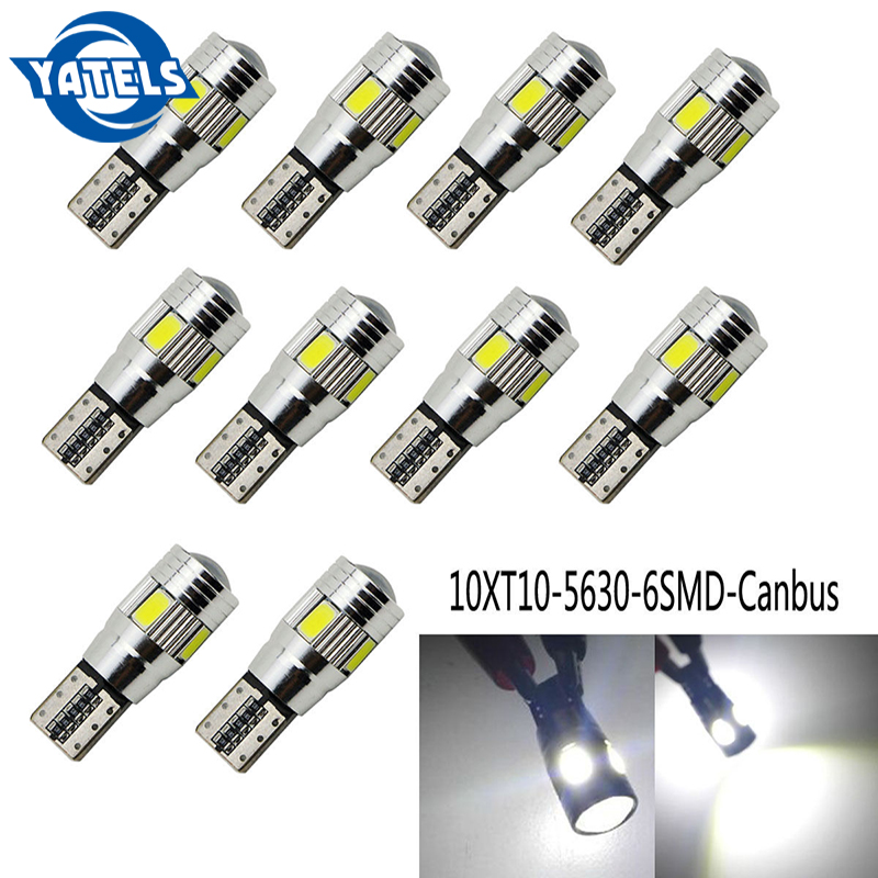 10  PCS T10 W5W 194 5630 LED Car Bulbs 6 SMD HID CANBUS ERROR FREE Car Side Wedge Light License Plate Light Ceiling Lamp