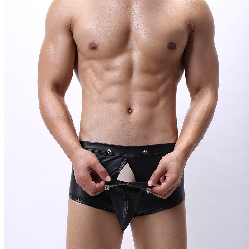 Sexy Men Boxers Open Crotch Faux Leather Lingerie Underwear Stage  Costume Penis Pouch Black Boxer Shorts Hombre Boxershorts