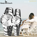 Роскошные парные часы, пара, мужские и женские водонепроницаемые часы с календарем из нержавеющей стали, часы для влюбленных пар, подарок, д...