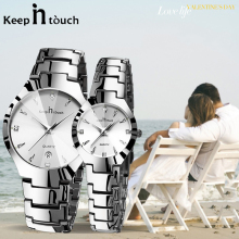 Luxury Couple Watches Pair Men And Women Waterproof Calendar Stainless Steel