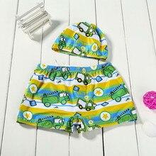 Детский Эластичный пляжный купальный костюм из 2 предметов для маленьких мальчиков, купальные плавки зеленые Пляжные штаны с мультипликационным принтом зеленые шорты с мультяшным автомобилем+ шапочка, комплект#1