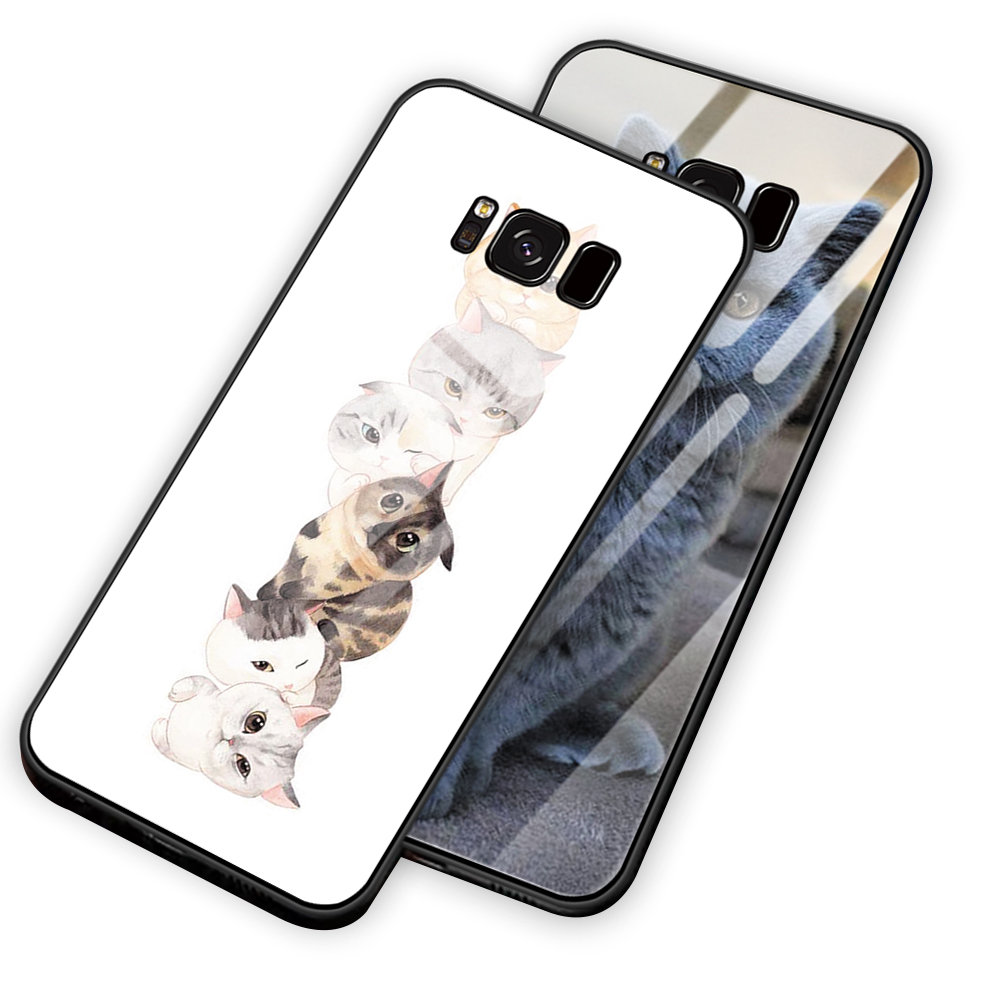 Cute Lovely Funny Animal Cat Tempered Glass Back Cover Phone Case Shell For Samsung Galaxy S8 S9 S10 Plus Note8 Note9 Case Coque