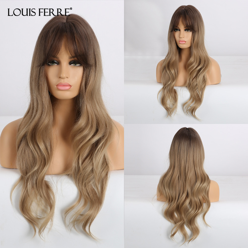 LOUIS FERRE Long Wavy Wigs With Bangs Middle Part Synthetic Hair Wigs Ombre Black Brown Blonde Wig For Black Women Afro Cosplay