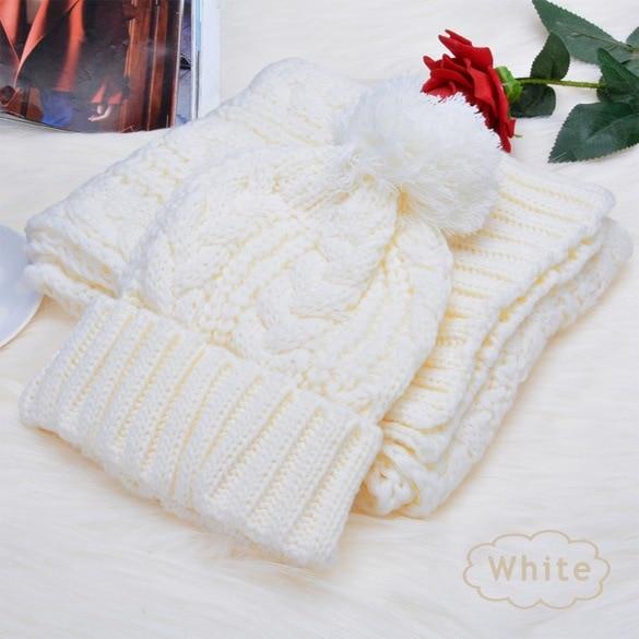 2pcs Set  Winter Scarf And Hat Plush Ball Beanie Autumn Lady Warm Knitted Cap Vintage Women Bonnet Femme Black/Red