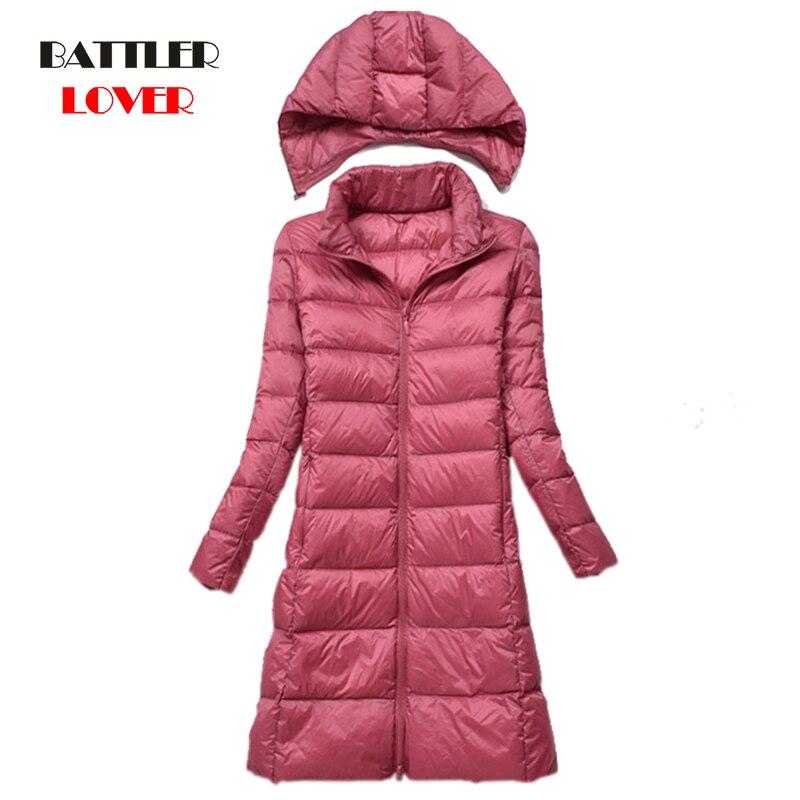 90% White Duck   Down     Coat   Women Ultra Light   Down   Jackets 2019 Winter New Women's Long   Down     Coat   Females Hooded Parka with Hat