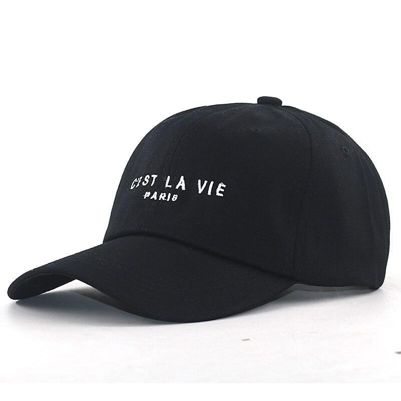 Sombrero de béisbol con bordado CEST LA VIE PARIS, gorra de béisbol con bordado de CEST LA VIE PARIS, Algodón puro negro, snapback deportivo de hip hop, unisex