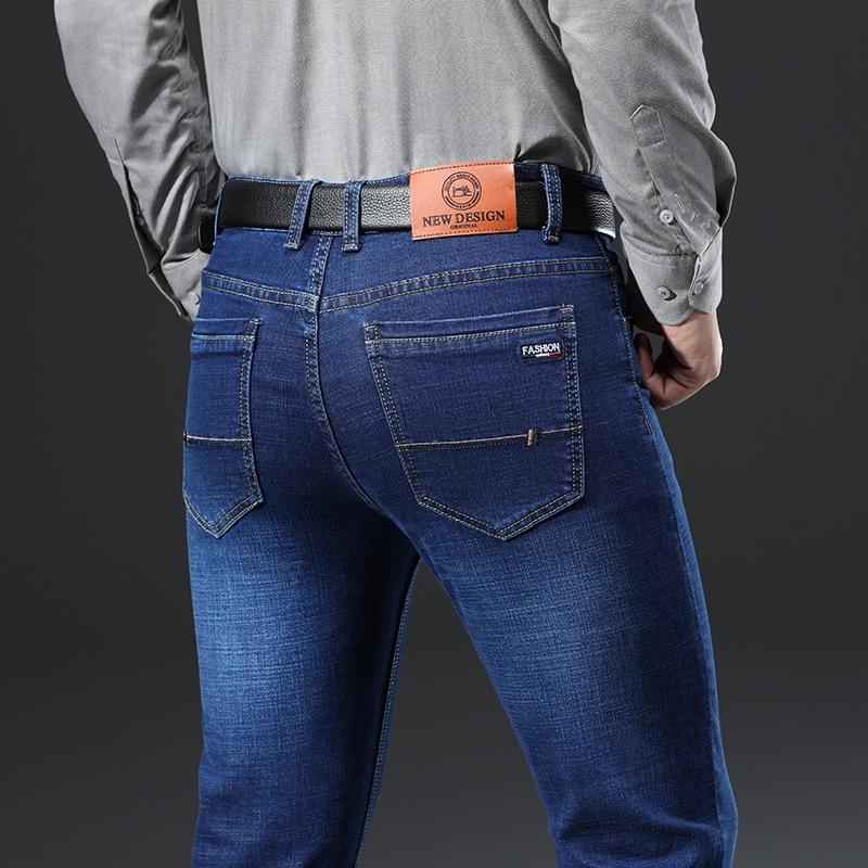 H1f7814949dbe4feba4211bd1391df5dcW - 2020 New Design Jeans Mens Pants Cotton Deniem Classic Trousers Casual Stretch Slim High Quality Black Blue Multiple Styles