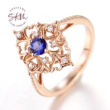 Женское кольцо с сапфиром розовое золото 14 к