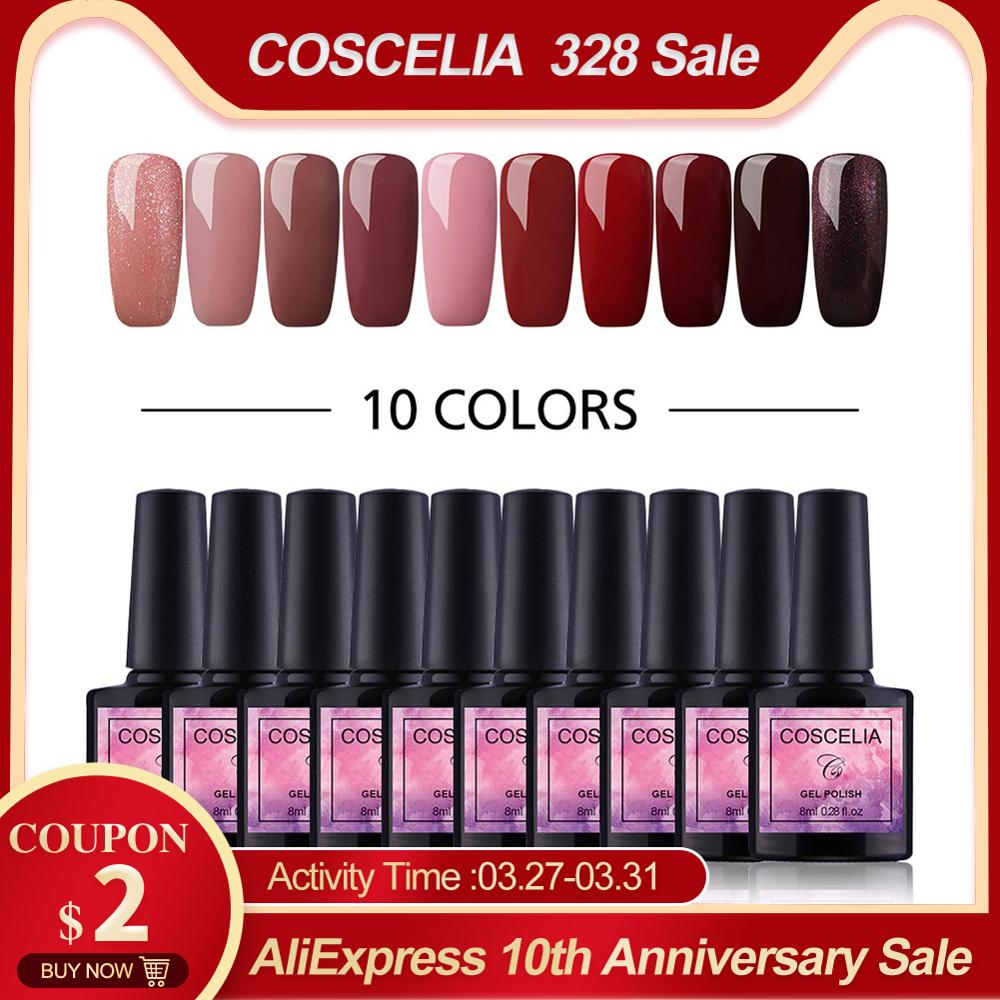 COSCELIA 6/8/10 Colors Gel Nail Polish Nail Kits For Nails Semi Permanent Soak Off Gel Polish Varnish UV Nail Set