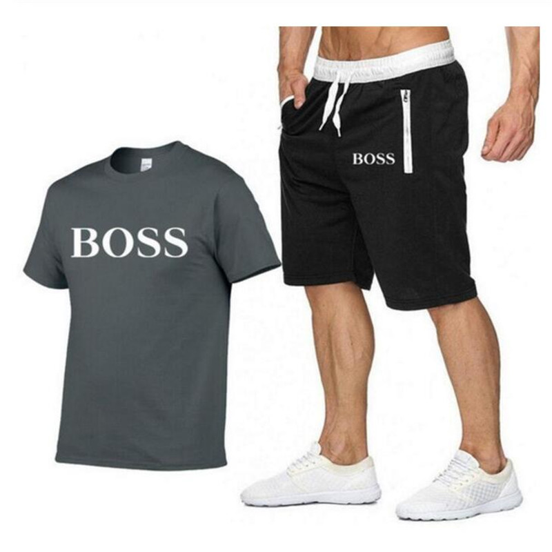 Summer Men's Sets T Shirts+shorts Men Brand Clothing Two Piece Suit Tracksuit Casual T-shirts Workout Fitness Sets