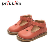 Baby Toddler Girls Vintage T Strap Flats Little Kids Genuine Leather Princess Mary Jane Children Pink White Black Dress Shoes