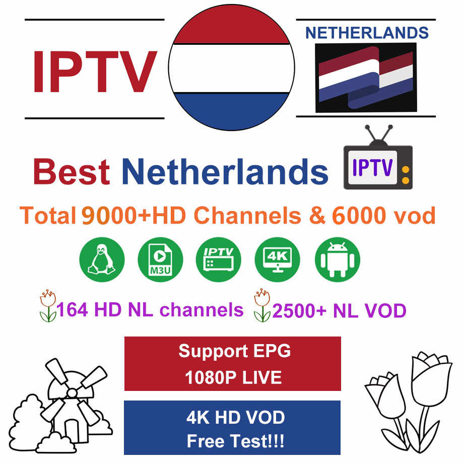 Dutch IPTV subscription 9000+Live HD IPTV Nederlands Sweden Finland Spain French IPTV m3u for smart tv android tv box 96 mini