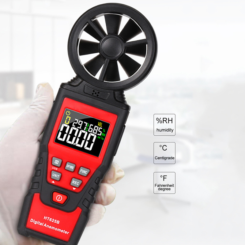Portable LCD Digital Anemometer Thermometer Wind Speed Gauge Wind Meter Test Tool HT625B FKU66