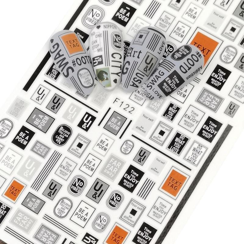 1pc 3D Letter Slider Decals Nail Art Decorations Sticker Adhesive Inscriptions Alphabet Foils Wraps Manicure Tool
