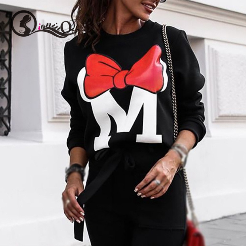 Women Autumn Sweatshirts Cartoon Print Pullovers Fashion Casual Loose Tops Round Neck Long Sleeve Cute Jumpers
