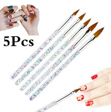 5 stücke Nagel Kristall Stift Carving Stift Pailletten Stange Maniküre Pinsel Set Acryl Nagel Bleistift Kristall Carving Nail art Strass werkzeuge(China)