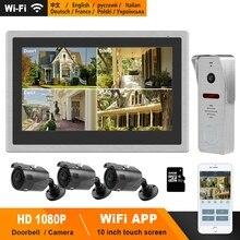 HomeFong videoportero inalámbrico con WiFi para el hogar, intercomunicador con pantalla táctil de 10 pulgadas, timbre de puerta de 1080P, Control en tiempo Real para teléfono inteligente