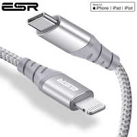 Câble ESR 30W PD USB C à la foudre câble de charge rapide certifié MFi pour iPhone 11 Pro X XR XS câble de données de Type C Max pour iPad