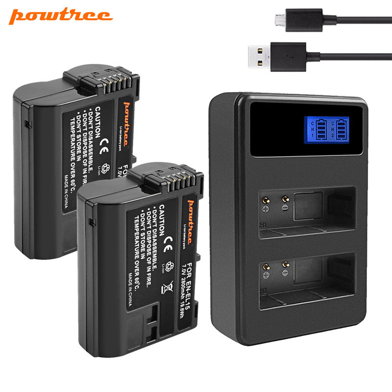 Powtree 2800mAh EN-EL15 EN EL15 Camera Battery+USB Dual Charger For Nikon DSLR D600 D610 D800 D800E D810 D7000 D7100 L15 ENEL15