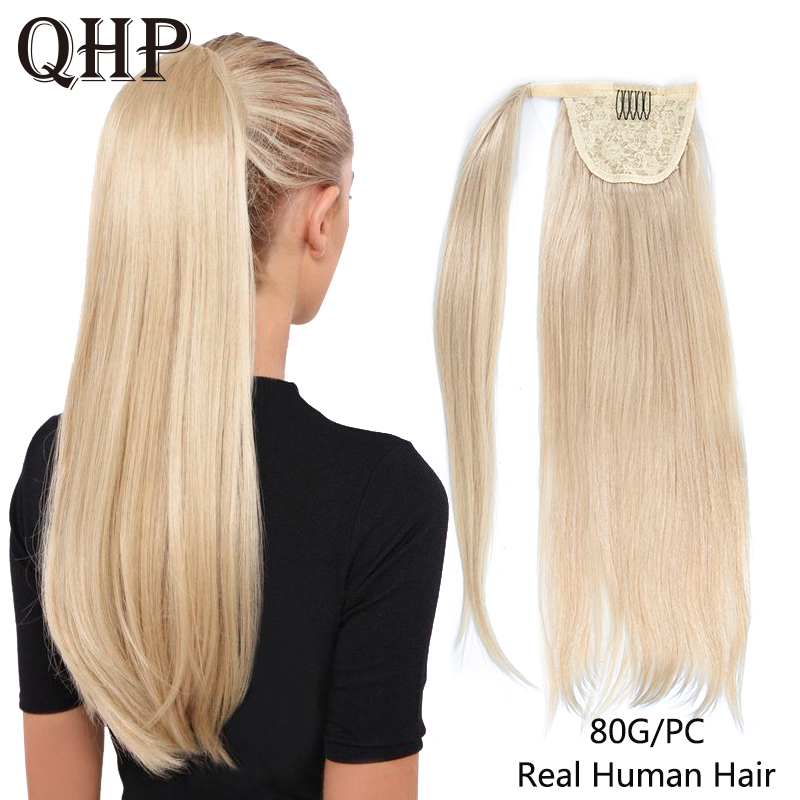 Ponytail Human Hair Remy Straight European Ponytail Hairstyles 80g 100% Natural Hair Clip In Extensions