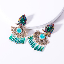 Za Vintage Ethnic Graceful Crystal Tassel Stud Earrings Kpop Alloy Hollow Out Earring Women Bohemia Elegant Geometric Jewelry graceful beads geometric hollow out sweater chain for women