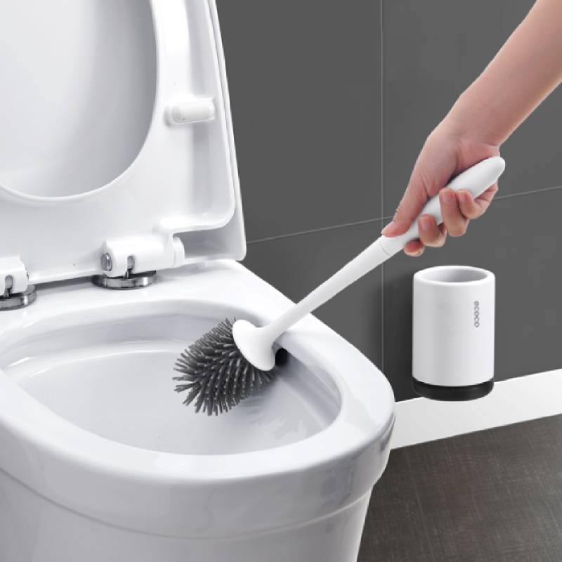 Rubber Toilet Brush Floor Brush Wall Mounted Cleaning Tool Long Handle Head Holders Cleaner Household Bathroom Accessories