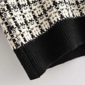 Image 5 - Женский однобортный вязаный кардиган BIAORUINA, теплый толстый свитер в клетку с v образным вырезом и ласточкой, верхняя одежда