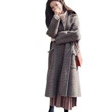 Women Winter Long Wool Coat Koren Female Warm Clothes Woolen Blends Trench Coats