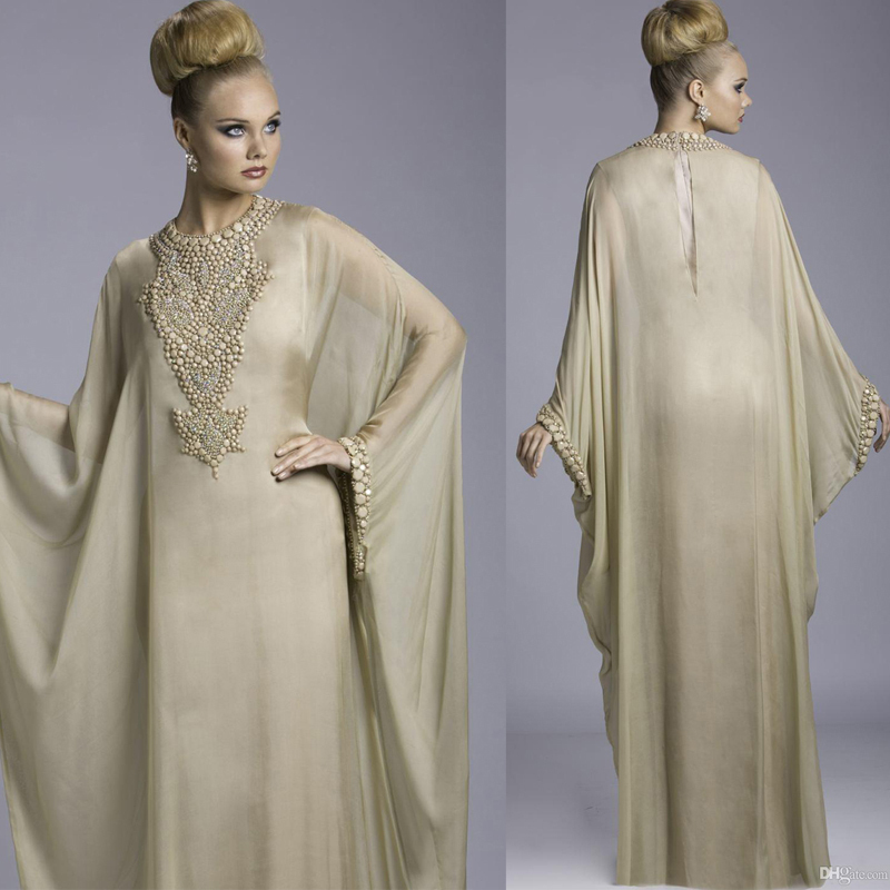 Arabic Abaya Dubai Chiffon Kaftan Evening Prom Gown With Long Sleeves Evening Gown Beaded Elegant Mother Of The Bride Dresses