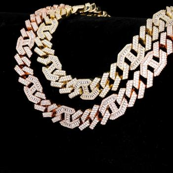 GUCY Miami Prong Set Cuban Chains Necklace For Men Hip Hop Iced Out Paved Bling Baguette Zircon Rapper Necklace Jewelry