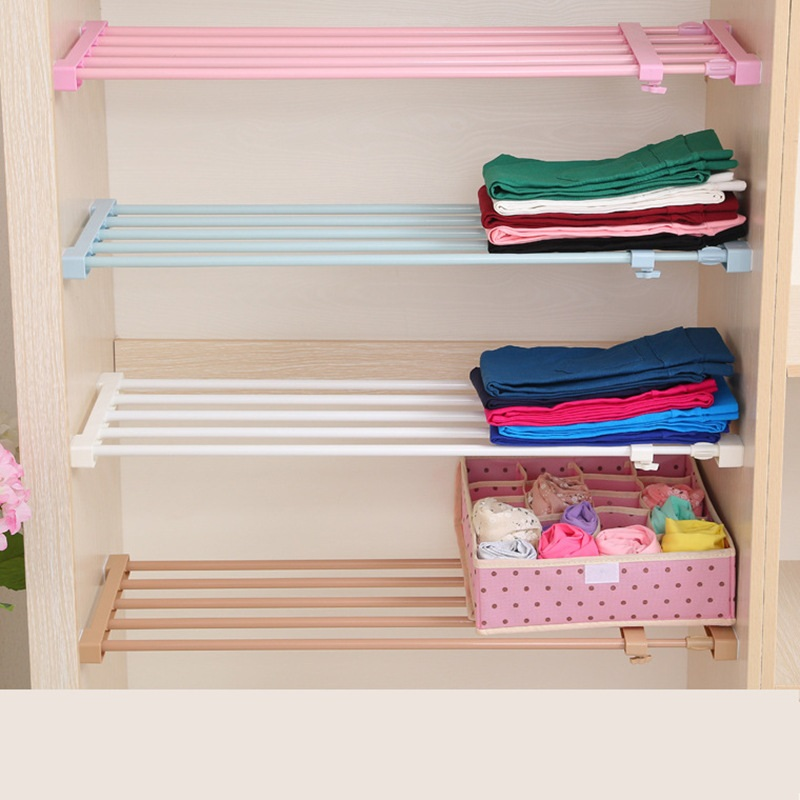 Permalink to Adjustable Closet Organizer Storage Shelf Wall Mounted Kitchen Rack Space Saving Wardrobe Cabinet Holders Width 42cm/16.5″