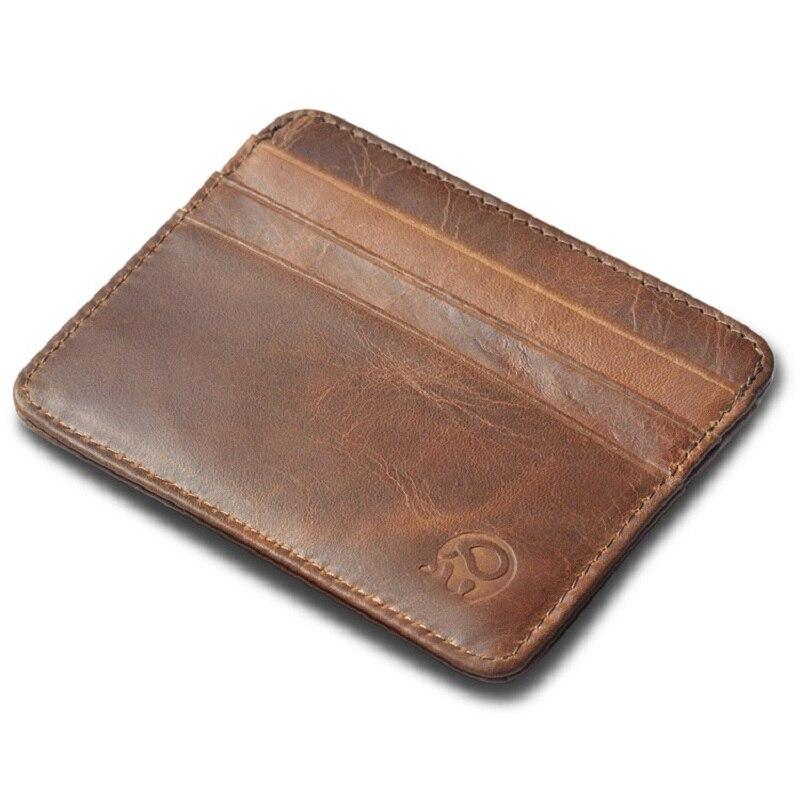 Unisex Genuine Leather Business Credit Card Case Holder Slim Wallet Front Pocket