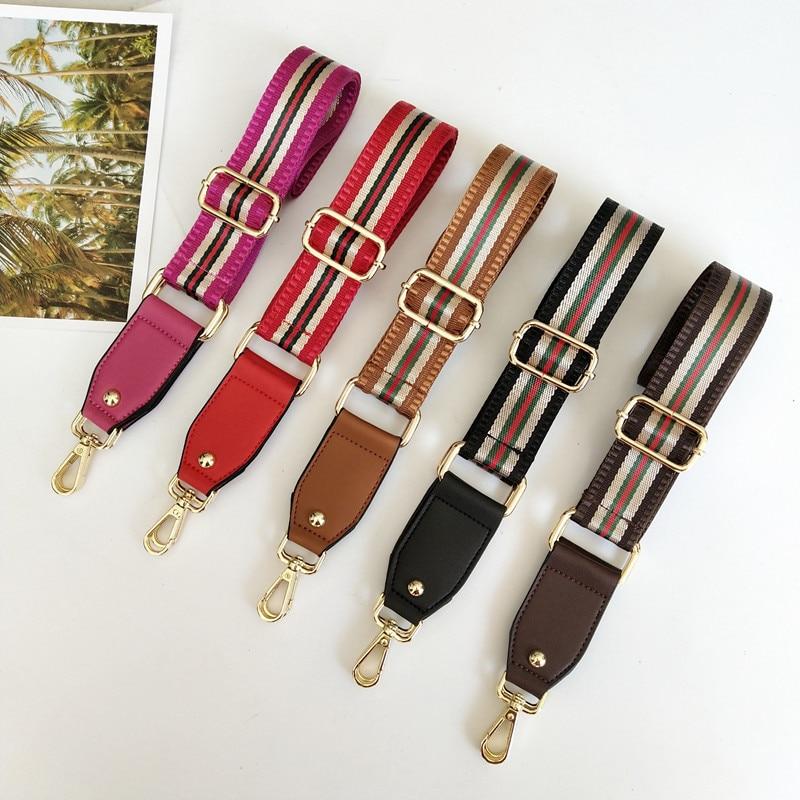 Nylon Bags Strap Belt Adjustable Shoulder Hanger Handbag Straps Multicolor Accessories Women Bag Striped Shoulder Strap Obag