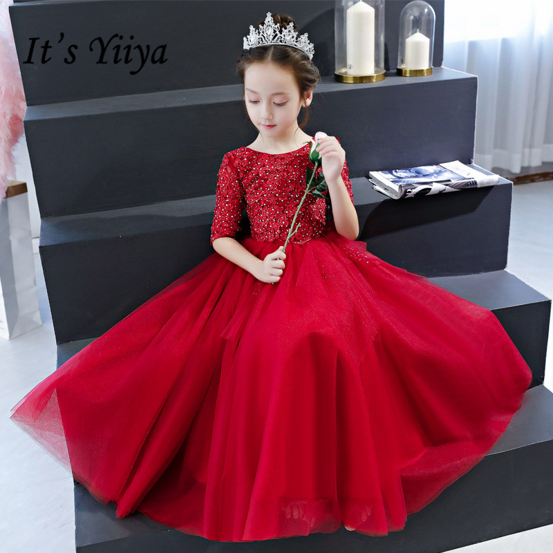 Red Flower Girl Dress It's Yiiya B080 Beading Crystal Pageant Desses 2020 Bow Lace Train Long Kids Party Communion Dresses