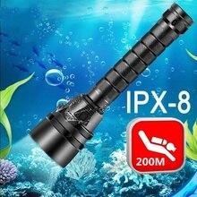 IPX 8 Powerful Diving Flashlight Highest IP68 Waterproof Professional Diving Light Anti Skid Rope 5 Super Bright Lamp Beads