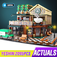 Idea City street view with LED light casual coffee house Compatible Lepining Building Blocks Bricks Classic Model Kids Toys
