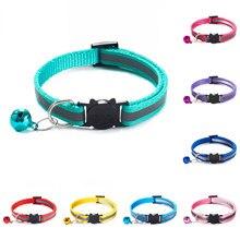 18 couleurs chats cloches colliers boucles en Nylon réglables mode collier pour animaux de compagnie réfléchissant chat tête modèle fournitures pour accessoires