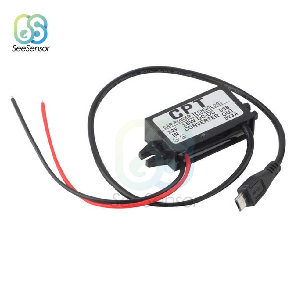 DC/DC 12V untuk 5V 3A 15W Micro USB Mobil Power Buck Converter Regulator Step Down tegangan Power Supply Output Adaptor Panas Rendah
